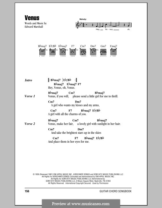 Venus (Frankie Avalon): Lyrics and chords by Edward Marshall