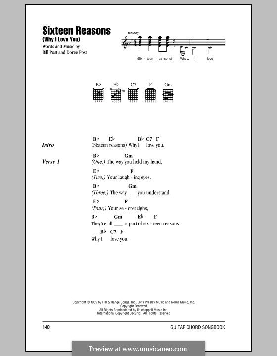 Sixteen Reasons (Why I Love You): Lyrics and chords by Bill Post, Doree Post