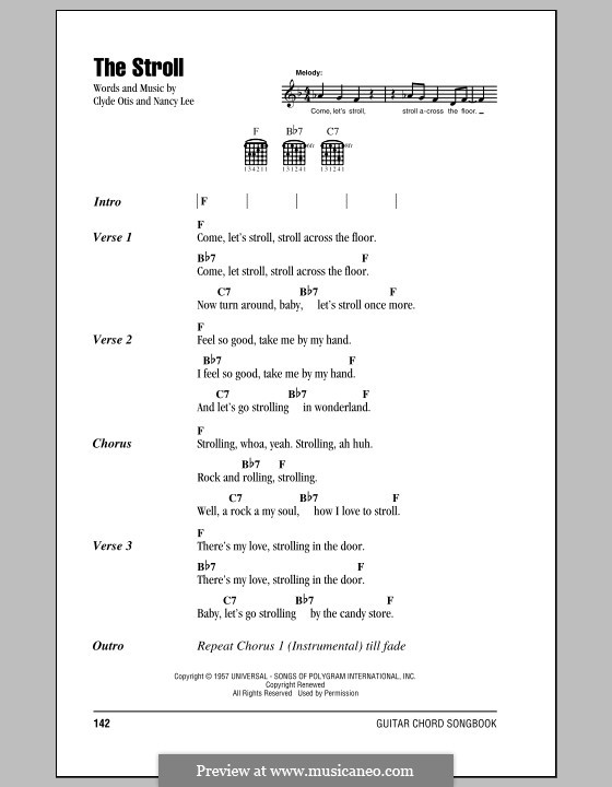 The Stroll (The Diamonds): Lyrics and chords by Clyde Otis, Nancy Lee