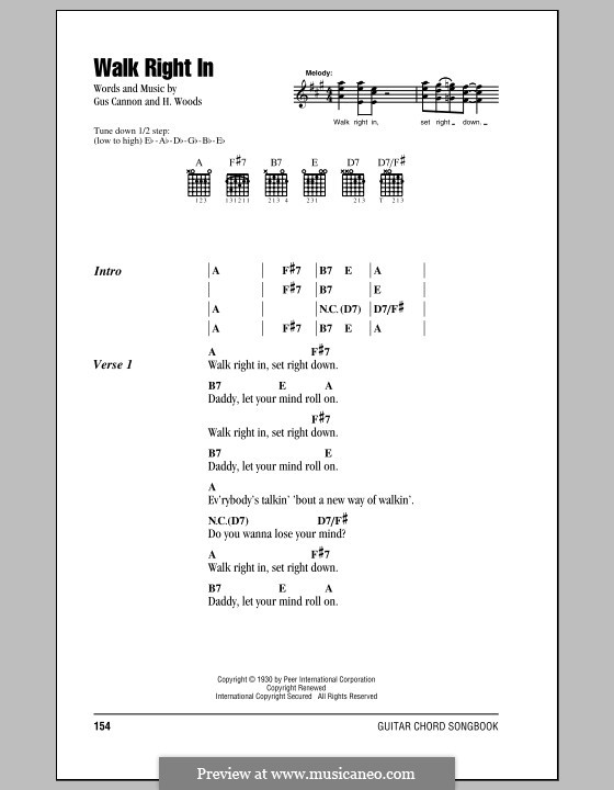 Walk Right in (The Rooftop Singers): Lyrics and chords by Gus Cannon, Harry Woods