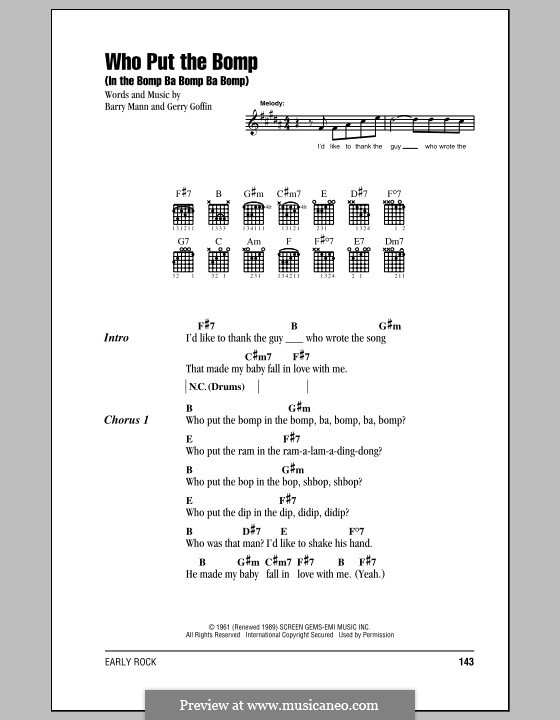 Who Put the Bomp (In the Bomp Ba Bomp Ba Bomp): Lyrics and chords by Gerry Goffin