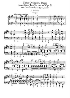 Three Orchestral Pieces from 'Sigurd Jorsalfar', Op.56: Version for piano by Edvard Grieg