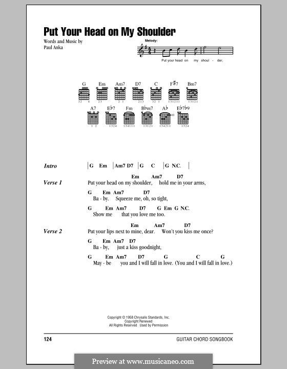 Put Your Head on My Shoulder: Lyrics and chords by Paul Anka