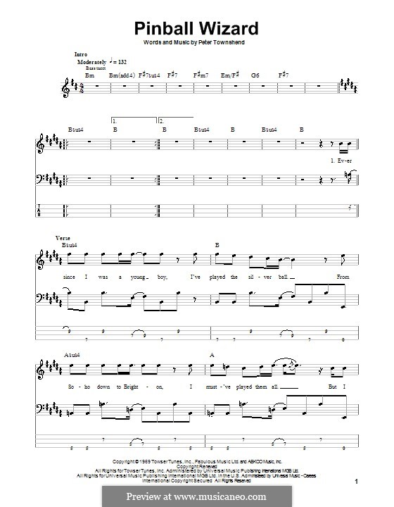 Pinball Wizard (The Who): For bass guitar with tablature by Peter Townshend