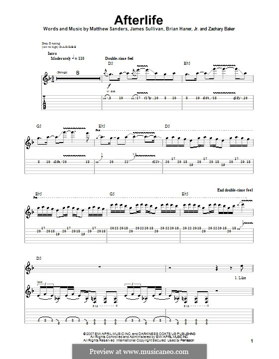 Afterlife (Avenged Sevenfold): For guitar with tab by Brian Haner Jr., James Sullivan, Matthew Sanders, Zachary Baker