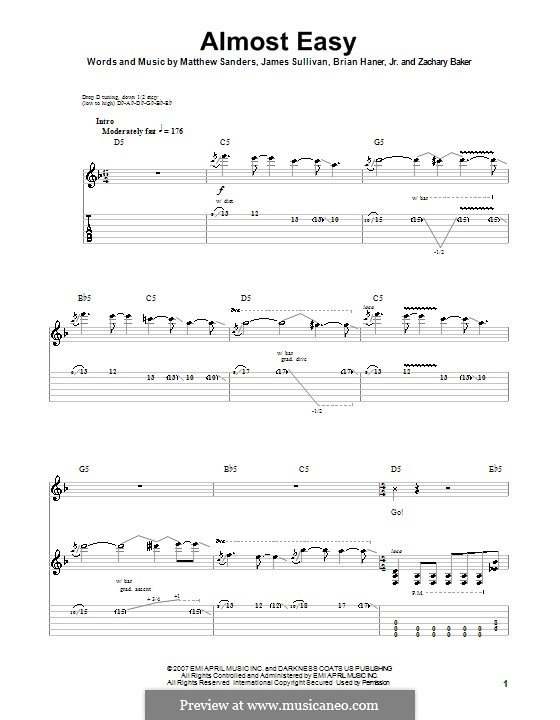 Almost Easy (Avenged Sevenfold): For guitar with tab by Brian Haner Jr., James Sullivan, Matthew Sanders, Zachary Baker