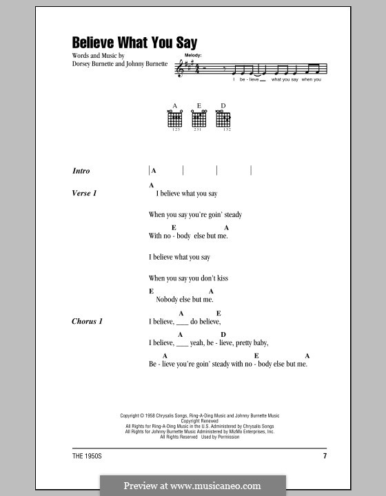 Believe What You Say (Ricky Nelson): Lyrics and chords by Dorsey Burnette, Johnny Burnette