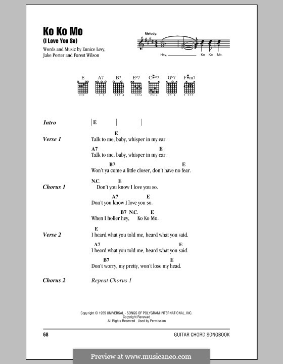 Ko Ko Mo (I Love You So): Lyrics and chords by Eunice Levy, Forest Wilson, Jake Porter