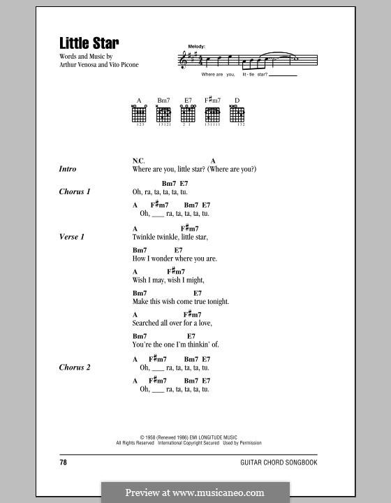 Little Star (The Elegants): Lyrics and chords by Arthur Venosa, Vito Picone