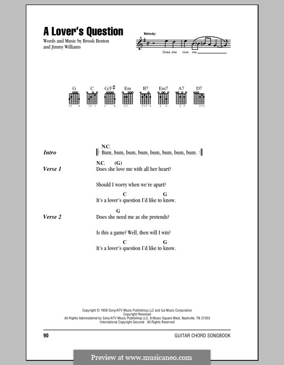 A Lover's Question (Clyde McPhatter): Lyrics and chords by Brook Benton, Jimmy Williams