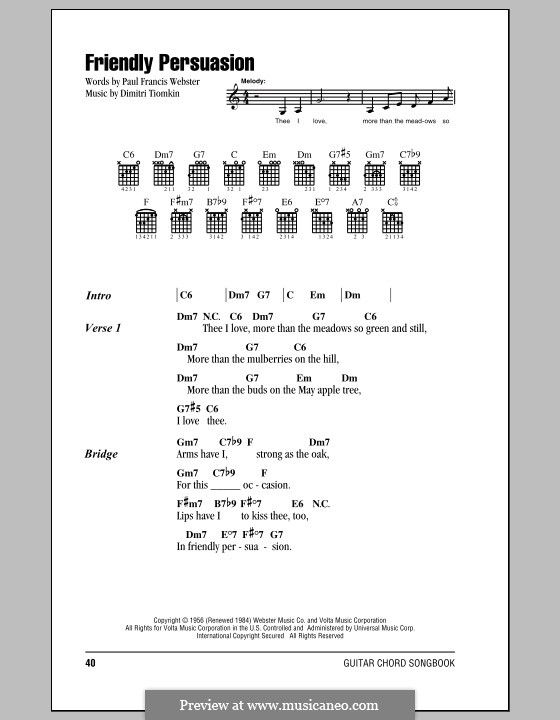 Friendly Persuasion (Pat Boone): Lyrics and chords by Dimitri Tiomkin, Paul Francis Webster