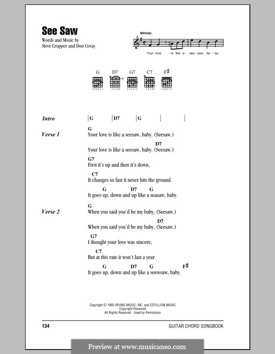 See Saw (Aretha Franklin): Lyrics and chords by Don Covay, Steve Cropper