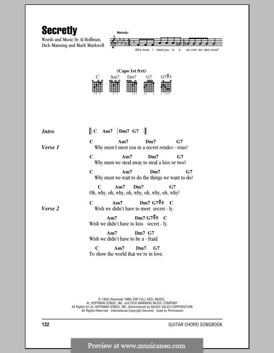 Secretly (Jimmie Rodgers): Lyrics and chords by Al Hoffman, Dick Manning, Mark Markwell