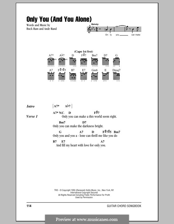 Only You (And You Alone): Lyrics and chords (The Platters) by Ande Rand, Buck Ram
