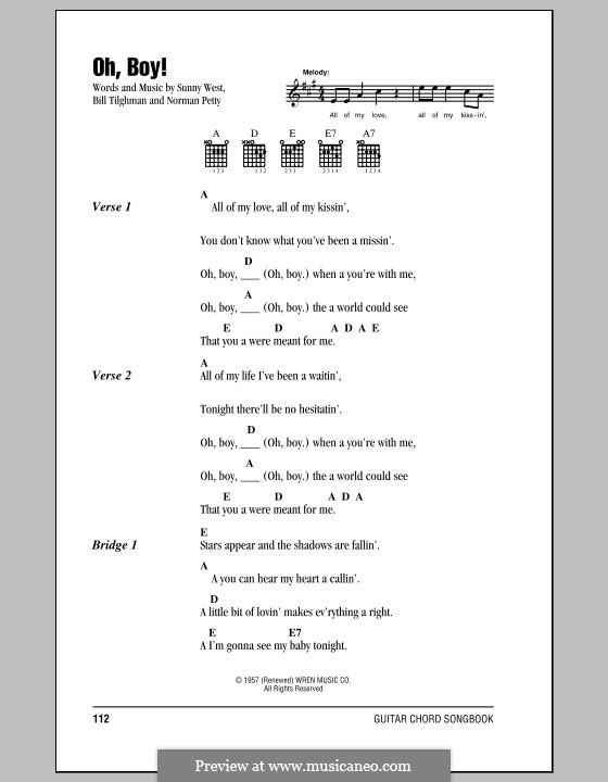Oh Boy! (Buddy Holly): Lyrics and chords by Bill Tilghman, Norman Petty, Sunny West