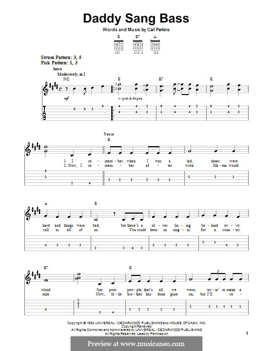 Daddy Sang Bass (Johnny Cash): For easy guitar by Carl Lee Perkins