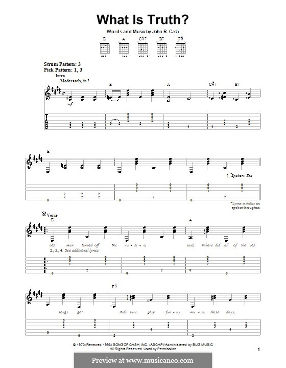 What Is Truth?: For guitar (very easy version) by Johnny Cash