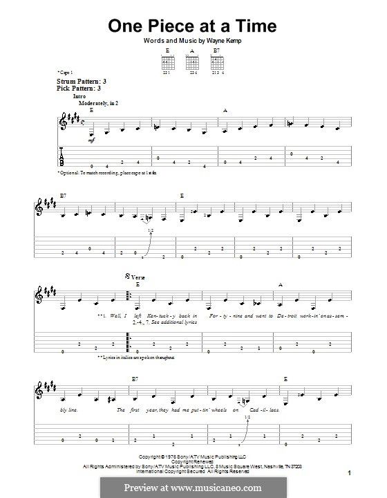 One Piece at a Time: For easy guitar (Johnny Cash) by Wayne Kemp