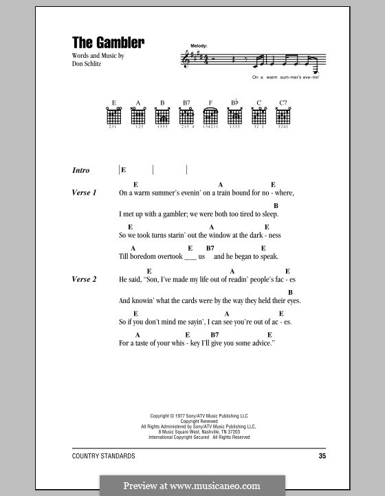 The Gambler (Kenny Rogers): Lyrics and chords by Don Schlitz