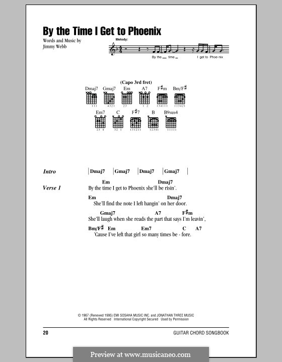 By the Time I Get to Phoenix: Lyrics and chords by Jimmy Webb
