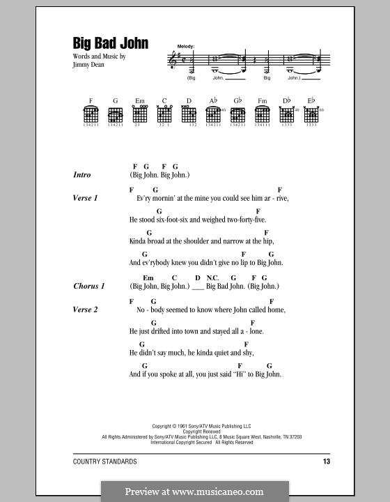 Big Bad John: Lyrics and chords by James A. Dean
