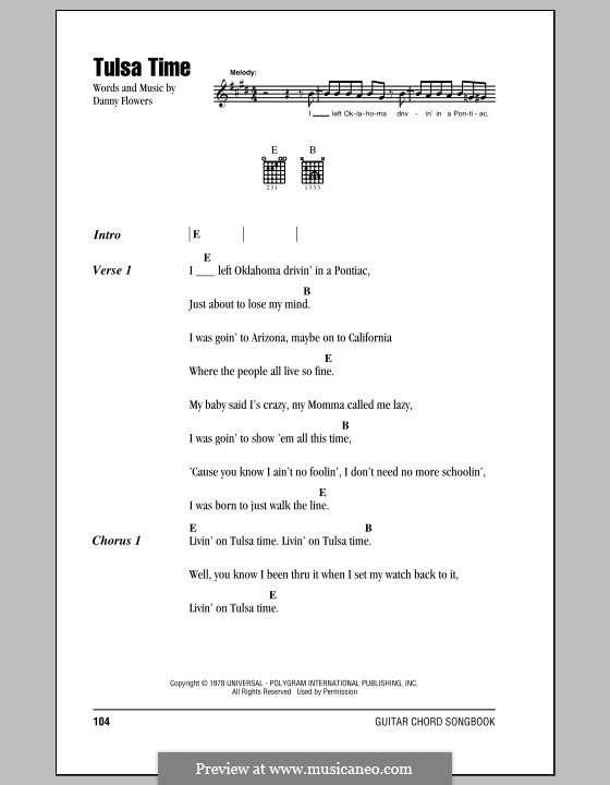 Tulsa Time By D Flowers Sheet Music On Musicaneo