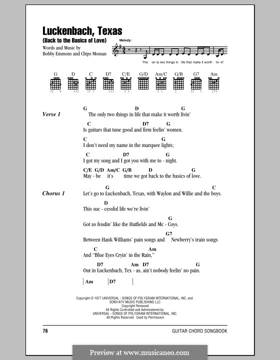 Luckenbach, Texas (Back to the Basics of Love): Lyrics and chords by Bobby Emmons, Chips Moman