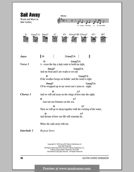 Sail Away: Lyrics and chords by Rafe Van Hoy
