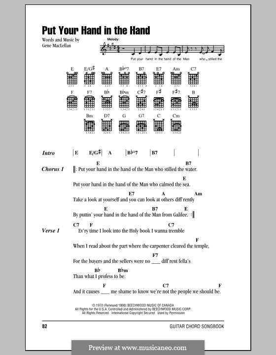 Put Your Hand in the Hand (Ocean): Lyrics and chords by Gene MacLellan