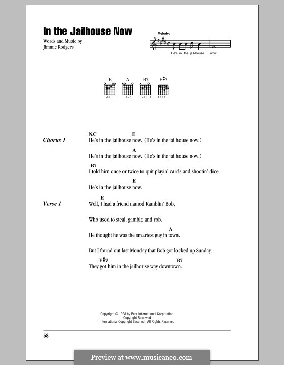 In the Jailhouse Now: Lyrics and chords by Jimmie Rodgers