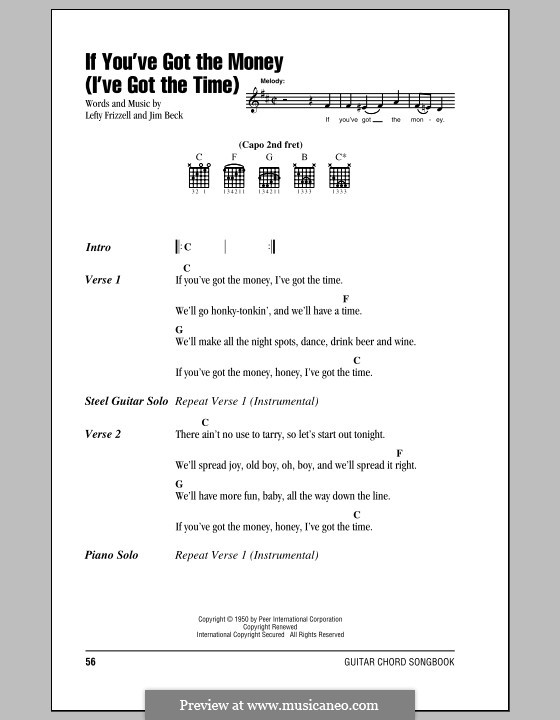 If You've Got the Money / I've Got the Time (Lefty Frizzell): Lyrics and chords by Jim Beck