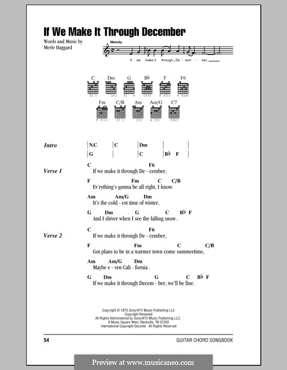 If We Make It Through December By M Haggard Sheet Music On Musicaneo