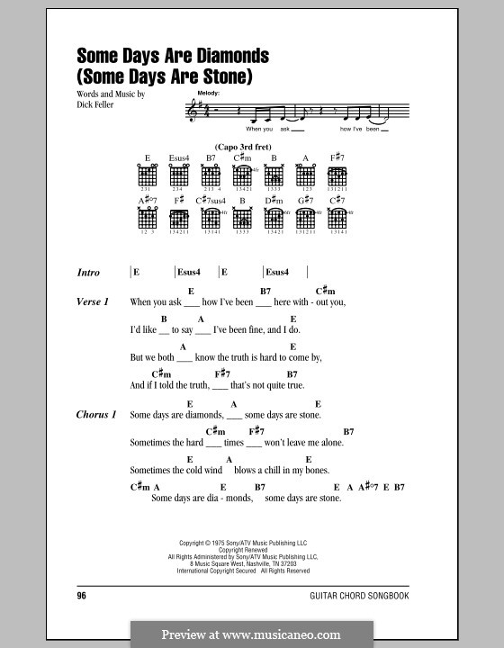 Some Days Are Diamonds (Some Days Are Stone): Lyrics and chords by Dick Feller
