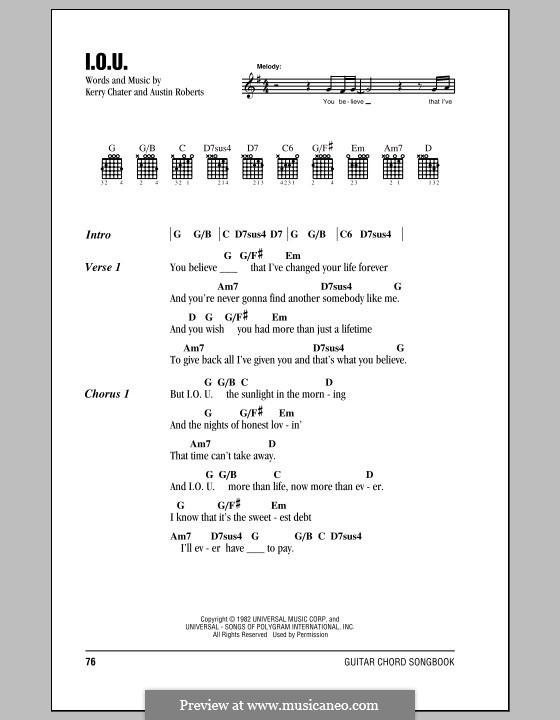 I.O.U. (Lee Greenwood): Lyrics and chords by Austin Roberts, Kerry Chater