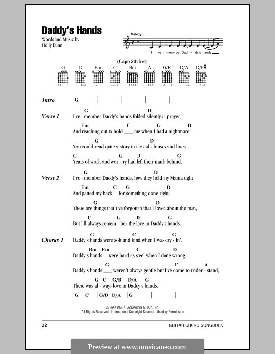 Daddy's Hands: Lyrics and chords by Holly Dunn