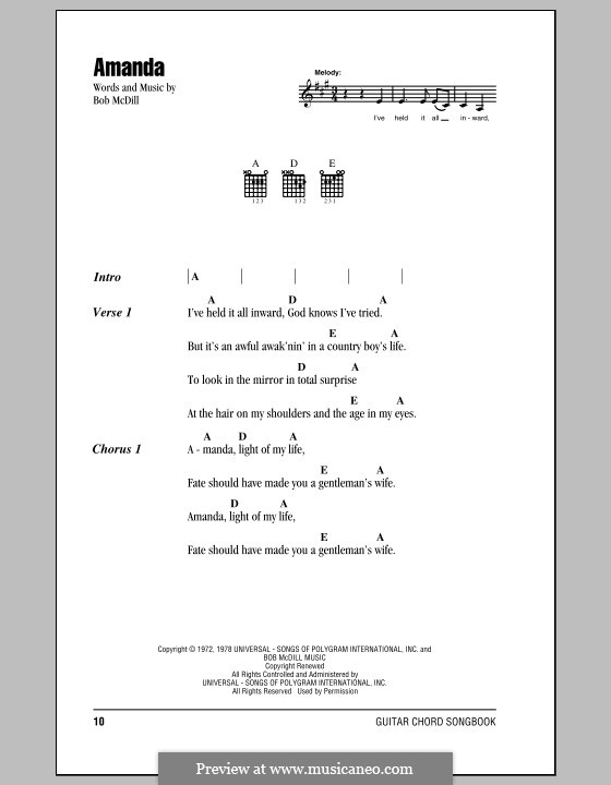 Amanda Waylon Jennings By B Mcdill Sheet Music On Musicaneo