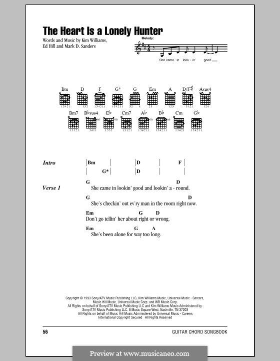 The Heart Is a Lonely Hunter (Reba McEntire): Lyrics and chords by Edward Burlingame Hill, Kim Williams, Mark D. Sanders