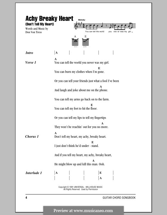 Achy Breaky Heart (Don't Tell My Heart): Lyrics and chords by Donald Von Tress