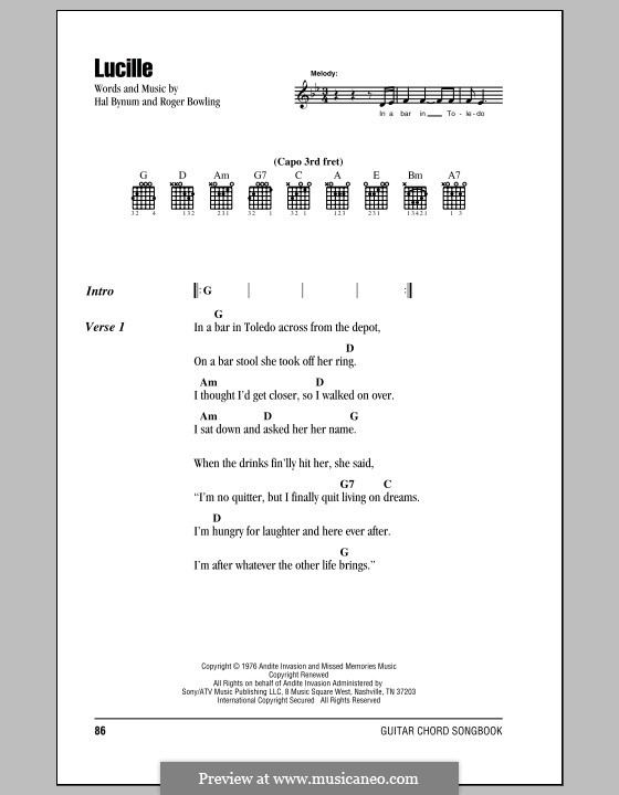 Lucille (Kenny Rogers): Lyrics and chords by Hal Bynum, Roger Bowling