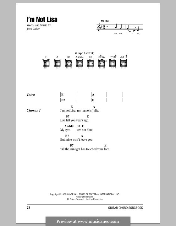I'm Not Lisa: Lyrics and chords by Jessi Colter