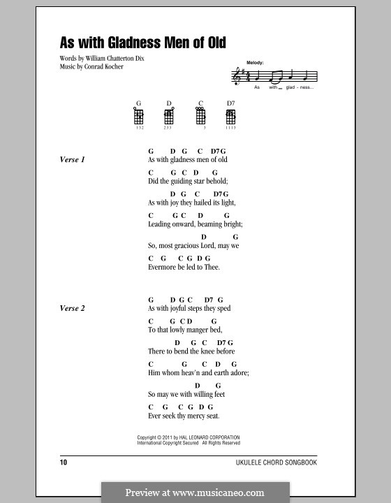 As with Gladness Men of Old: For ukulele by Conrad Kocher