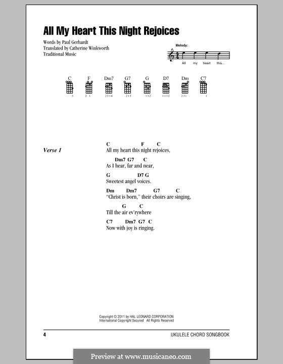All My Heart This Night Rejoices: Ukulele with strumming patterns by Johann Georg Ebeling