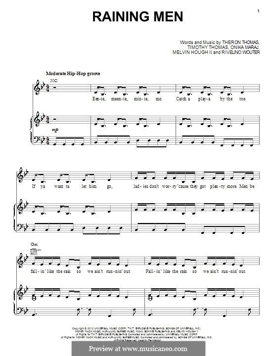 Raining Men (Rihanna): For voice and piano (or guitar) by Melvin Hough II, Onika Maraj, Rivelino Wouter, Theron Thomas, Timothy Thomas