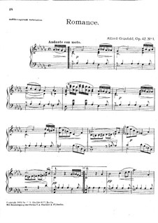 Romance in D Flat Major, Op.42 No.1: For piano by Alfred Grünfeld