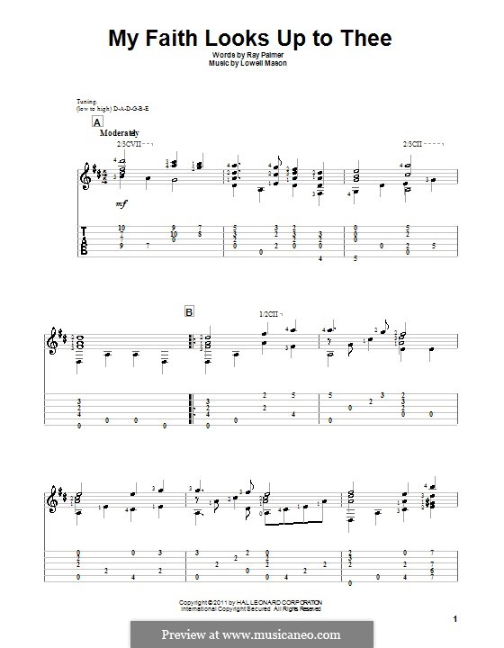 My Faith Looks Up to Thee: For guitar by Lowell Mason