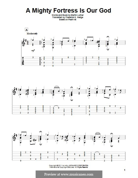 A Mighty Fortress Is Our God: For guitar by Martin Luther