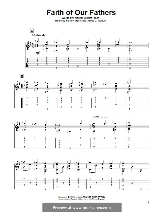 Faith of Our Fathers: For guitar with tab by Henri F. Hemy, James G. Walton