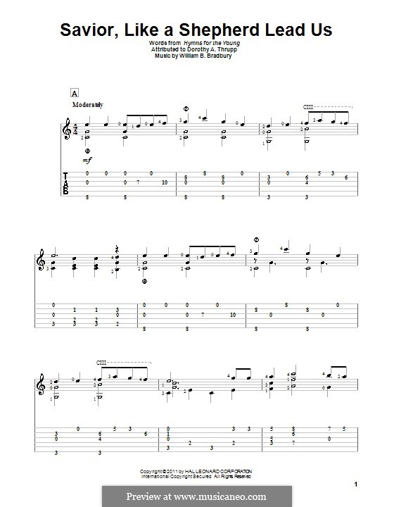 Savior, Like a Shepherd Lead Us: For guitar with tab by William Batchelder Bradbury