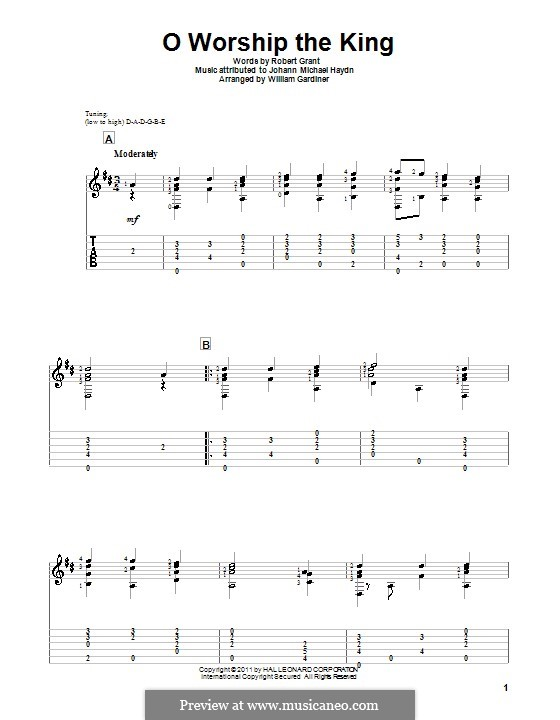 O Worship The King: For guitar with tab by Michael Haydn
