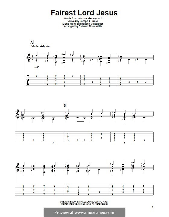 Fairest Lord Jesus: For guitar by folklore